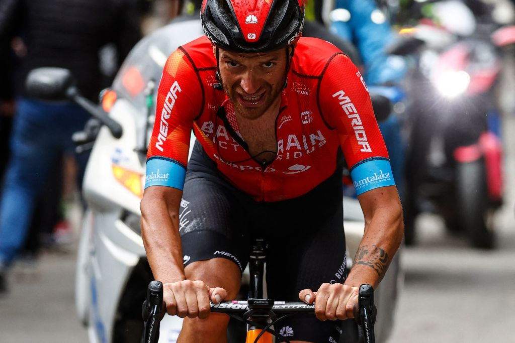 Team Bahrain rider Italys Damiano Caruso rides in the final ascent on his way to win the 20th stage of the Giro dItalia 2021 cycling race 164km between Verbania and Valle Spluga Alpe Motta Madesimo on May 29 2021 Photo by Luca Bettini AFP Photo by LUCA BETTINIAFP via Getty Images
