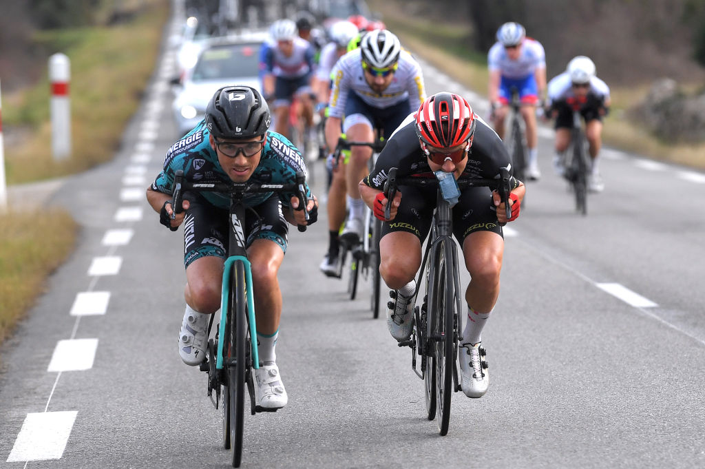 BESSGES FRANCE FEBRUARY 05 Tim Wellens of Belgium and Team Lotto Soudal Cyril Barthe of France and Team BB Hotels pb KTM during the 51st toile de Bessges Tour du Gard 2021 Stage 3 a 1548km stage from Bessges to Bessges Feeding Breakaway EDB2020 on February 05 2021 in Bessges France Photo by Luc ClaessenGetty Images