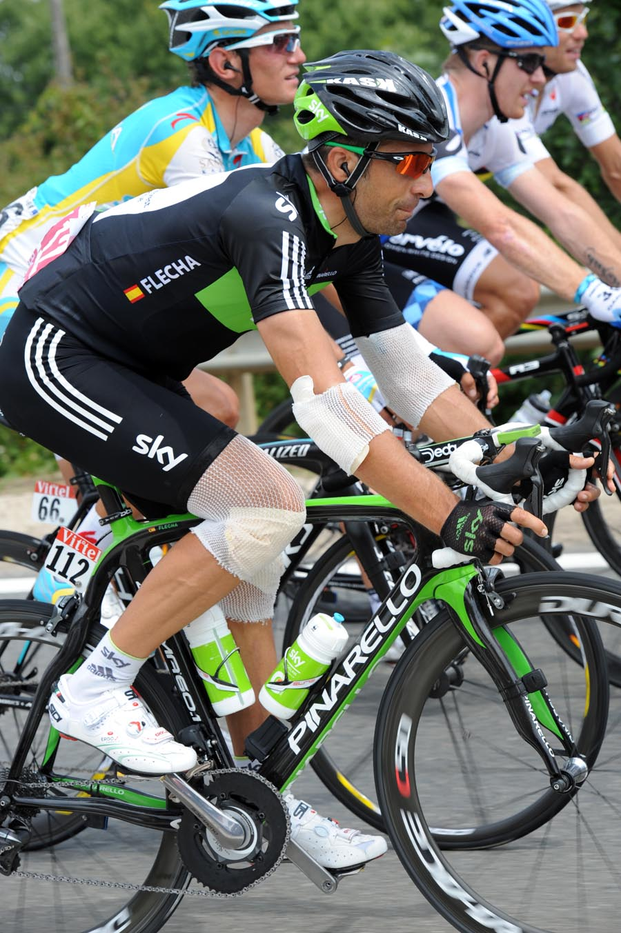 Juan Antonio Flecha in bandages after being hit by a car on stage nine, Tour de France 2011, stage 10