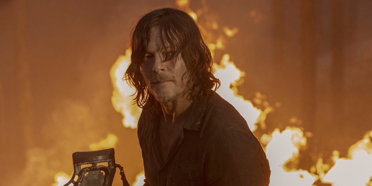 the walking dead season 10 premiere daryl dixon fire amc