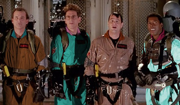 Bill Murray, Harold Ramis, Dan Aykroyd, and Ernie Hudson as The Ghostbusters