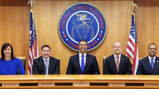 From left: Commissioners Jessica Rosenworcel and Michael O'Rielly, Chairman Ajit Pai, Commissioners Brendan Carr and Geoffrey Starks.