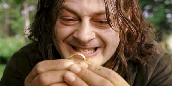 Andy Serkis young Smeagol Gollum holds precious ring of power Lord of the Rings Return of the King