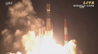 A Japanese H-IIB rocket launches into space carrying the HTV-5 cargo ship on a mission to deliver 4.5 tons of supplies to astronauts on the International Space Station. Liftoff occurred at 7:50 am ET on Aug. 19, 2015 from the Japan Aerospace Exploration A