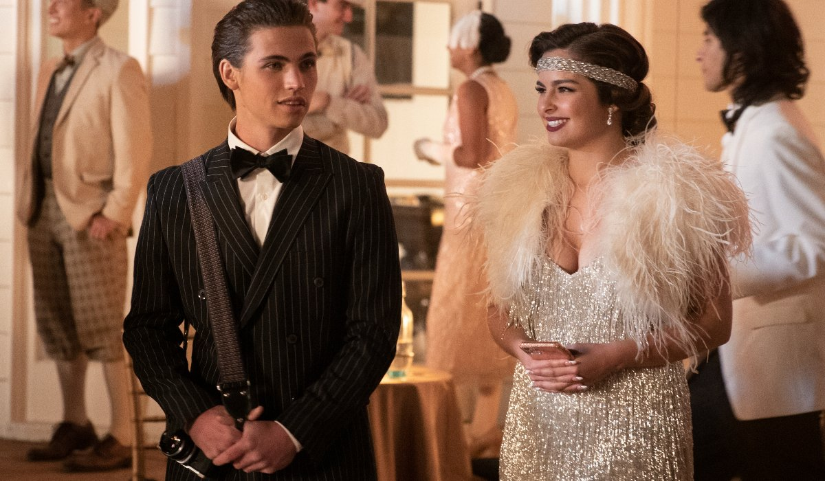 Tanner Buchanan and Addison Rae dressed for a '20s formal in He's All That.