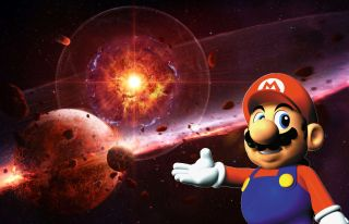 Mario pointing at an illustration of a supernova destroying planets