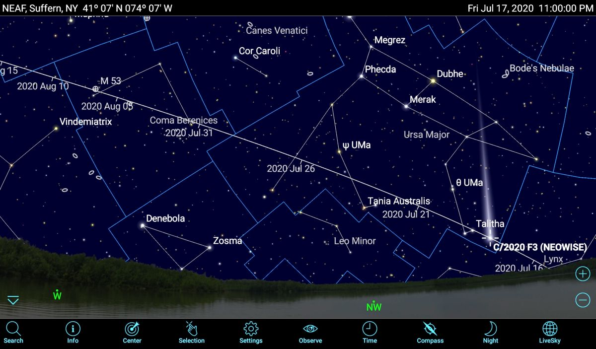 How to spot the bright Comet NEOWISE using mobile apps
