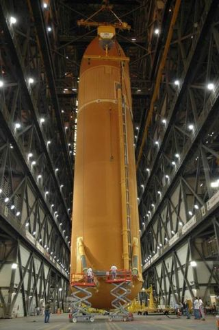 Shuttle Fuel Tank to Meet Boosters for NASA's STS-121 Flight