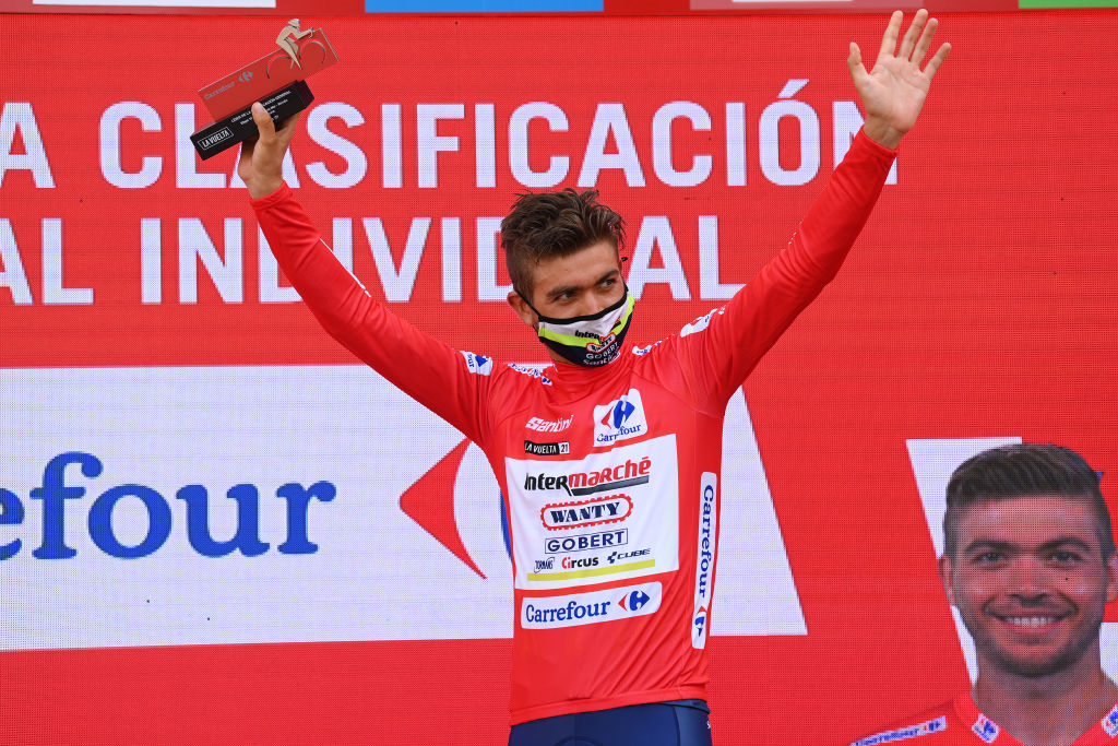 RINCON DE LA VICTORIA SPAIN AUGUST 24 Odd Christian Eiking of Norway and Team Intermarch Wanty Gobert Matriaux celebrates winning the Red Leader Jersey on the podium ceremony after the 76th Tour of Spain 2021 Stage 10 a 189km stage from Roquetas de Mar to Rincn de la Victoria lavuelta LaVuelta21 on August 24 2021 in Rincon De La Victoria Spain Photo by Stuart FranklinGetty Images