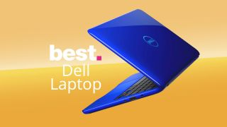 """Blue Dell laptop on an orange background with text saying """"best Dell laptop"""""""