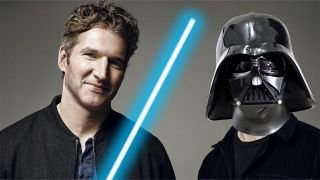 A photo illustration of David Benioff and D.B. Weiss doing low-effort Star Wars cosplay.