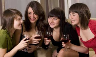 women drinking wine