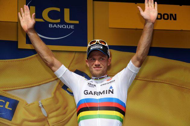 Thor Hushovd on podium, Tour de France 2011, stage three