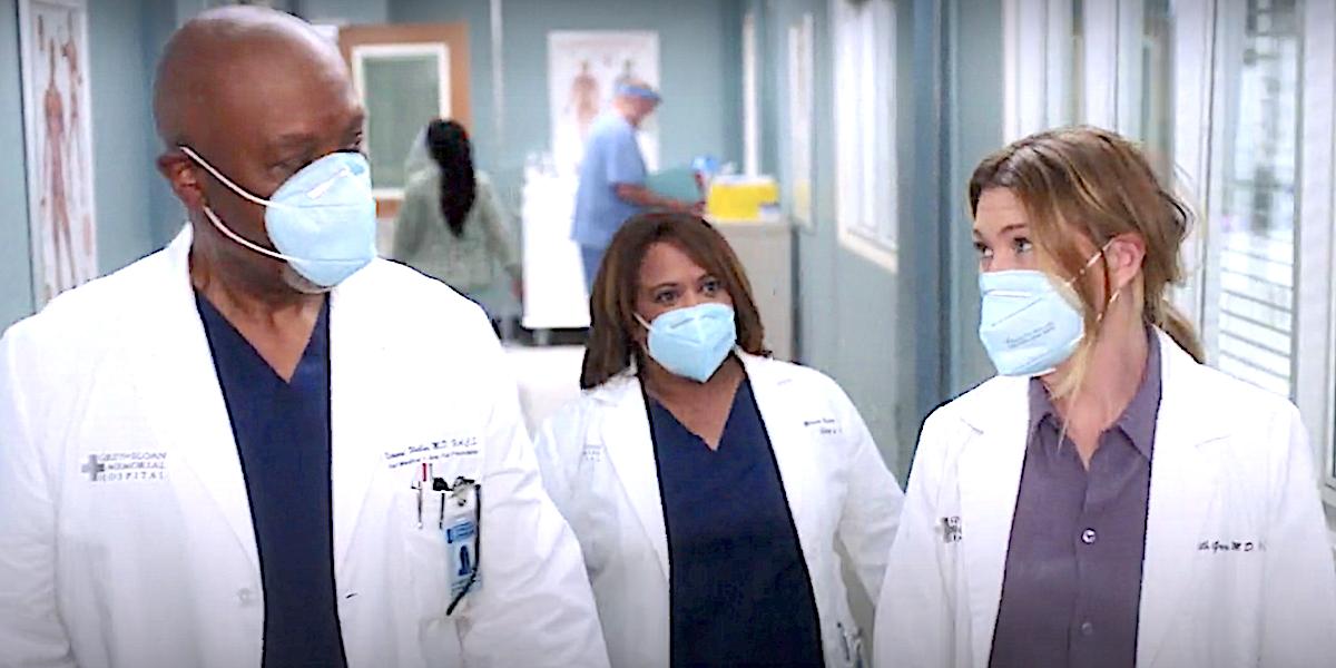 Grey's Anatomy Richard Webber, Miranda Bailey and Meredith Gray walk the halls of the hospital.
