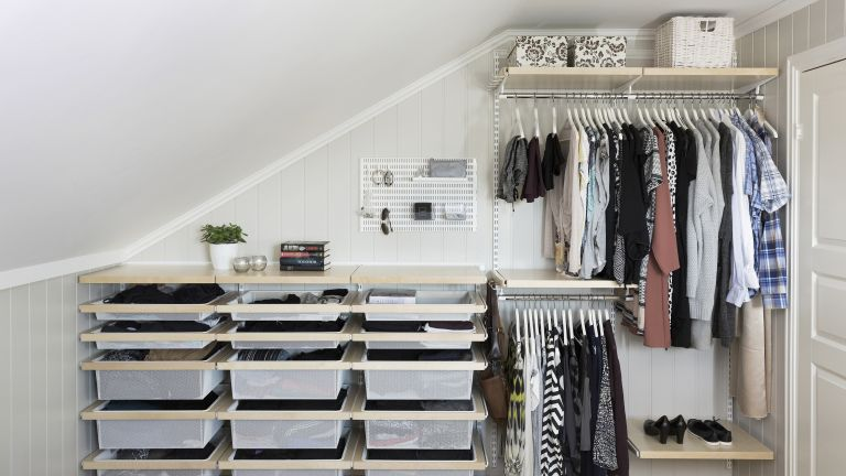 clothes storage combination from Elfa in a loft