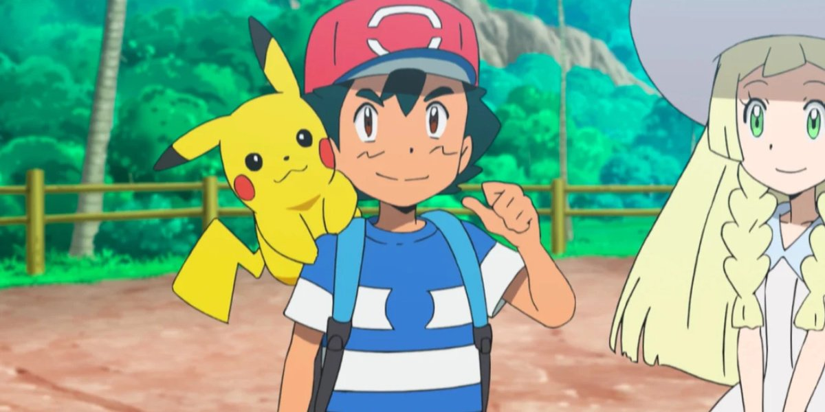 Ash with his Pikachu on the beach in Pokemon: Sun and Moon.