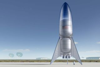 Artist's illustration of a prototype of SpaceX's Starship vehicle. Starship is designed to help humanity explore and settle the moon, Mars and other distant destinations.