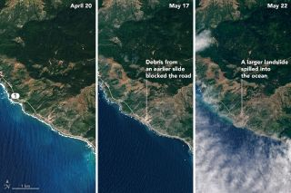 Images taken by NASA's Operational Land Imager on Landsat 8 reveal the extent of a massive landslide that has blocked off Big Sur's Highway 1. On the left, an image taken prior to the landslide (April 20), in the middle, an image taken after a smaller lan