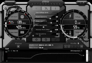 MSI Afterburner com relógio de núcleo e reforços de memória aplicados.