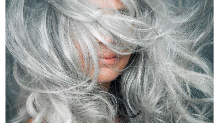 woman long grey hair