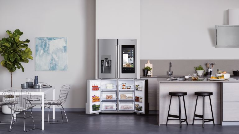 what is a smart fridge and do I need one? open plan kitchen with stylish smart fridge by samsung