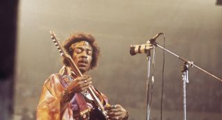 Jimi Hendrix performs with The Jimi Hendrix Experience at the Royal Albert Hall in London on 24th February 1969.