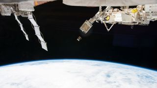 Thousands of the satellites orbiting Earth are small – like this cubesat seen here being released from the International Space Station.