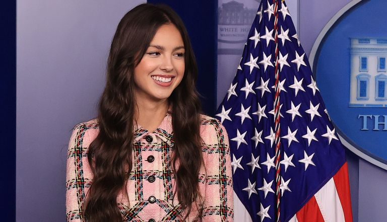 Pop music star and Disney actress Olivia Rodrigo makes a brief statement to reporters at the beginning of the daily news conference in the Brady Press Briefing Room at the White House