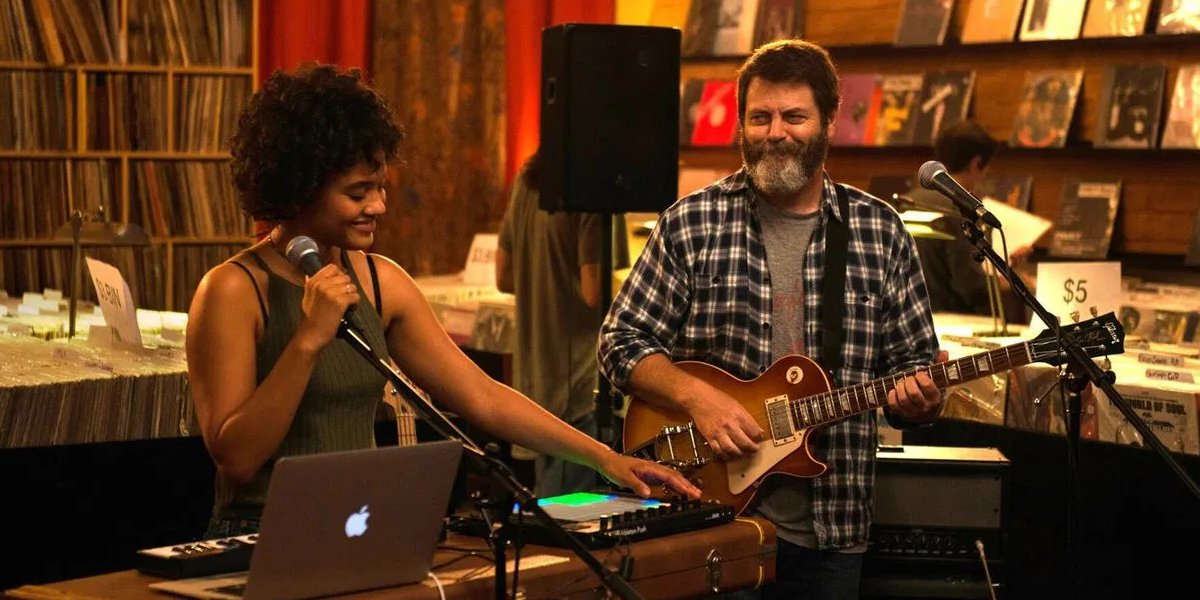 Kiersey Clemon and Nick Offerman in Hearts Beat Loud