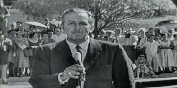 Walt Disney on the opening day of Disneyland