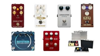 Collage of effects pedals in the Guitar Center sale