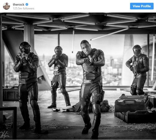 Idris Elba in the Rock's Instagram