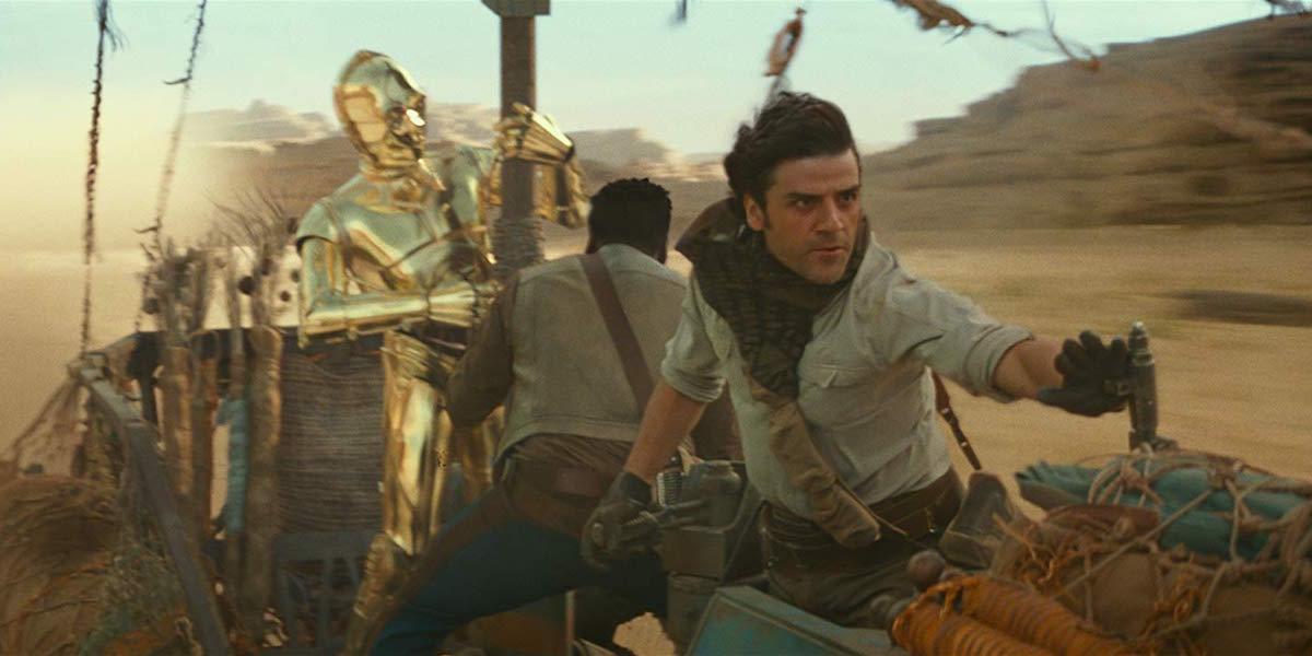 Poe Dameron, Finn and C-3PO riding speeder in The Rise of Skywalker