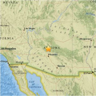 A map of the 4.1-magnitude earthquake that struck Black Canyon City, Arizona, on Nov. 1.