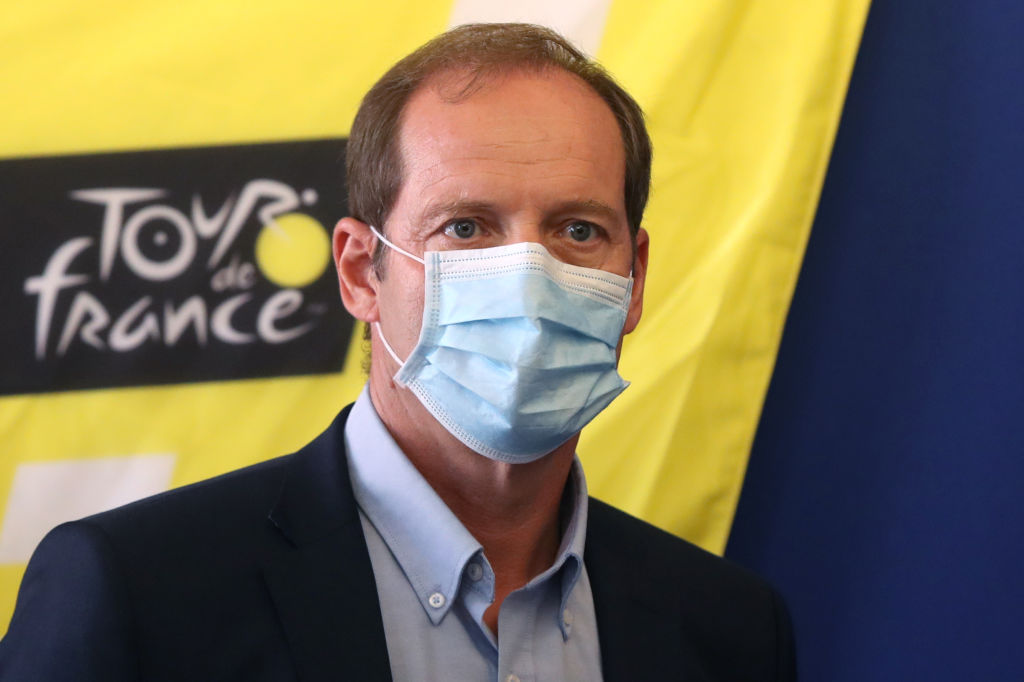 Tour de France director Christian Prudhomme wearing a face mask arrives for a press conference to present sanitary measures over the COVID19 novel coronavirus pandemic put in place for the start of the 107th edition of the Tour De France cycling race in the French Riviera city of Nice on August 19 2020 The 2020 edition of the Tour de France kicks off in Nice on August 29 and runs to September 20 postponed from June 27 to July 19 due to the coronavirus pandemic Photo by Valery HACHE AFP Photo by VALERY HACHEAFP via Getty Images