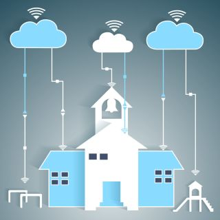 Illustration of school with clouds and WIFI