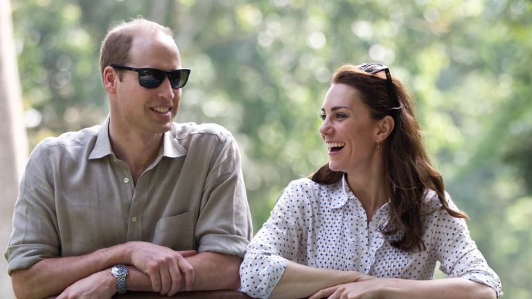 The Royal Family: Prince William, Duke of Cambridge and Catherine, Duchess of Cambridge ride in an open air Jeep on a safari at Kaziranga National Park on April 13, 2016 in Guwahati, India