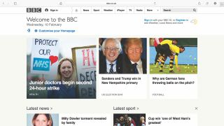 A cached image of the BBC homepage featuring a selection of news headlines