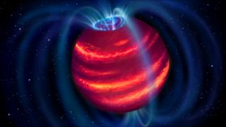 """An artist's impression of the new brown dwarf BDR J1750+3809, or """"Elegast."""" This faint, cold celestial body was detected using radio telescope observations for the first time."""