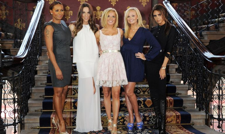 Melanie Brown aka Mel B, Melanie Chisholm aka Mel C, Geri Halliwell, Emma Bunton and Victoria Beckham pose at the press launch of 'Viva Forever', a new musical based on the music of The Spice Girls, at the St Pancras Renaissance Hotel on June 26, 2012 in London, England.