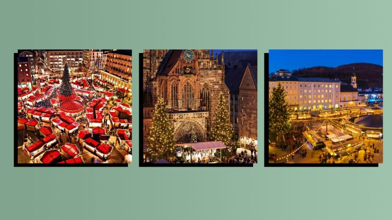 Photos of three of the best christmas markets in Europe from europe on a green background with a black drop shadow