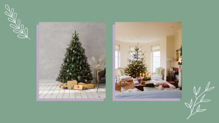 collage image of christmas trees
