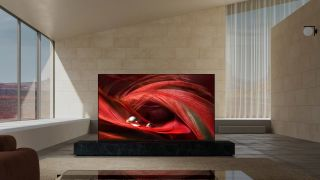 The Sony X95J 4K LCD TV in a brightly lit room