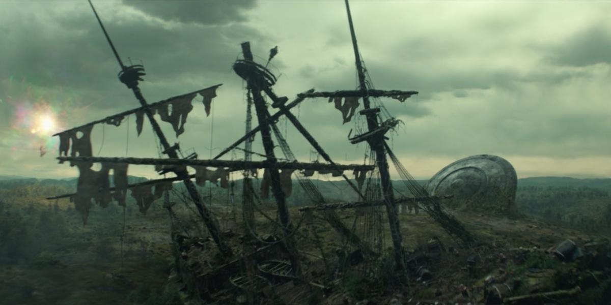 a pirate ship and a ufo in loki episode 5