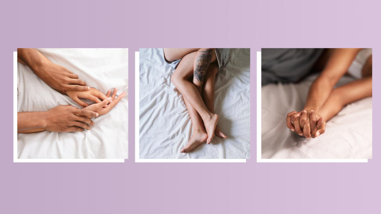 couples lying in bed on purple background