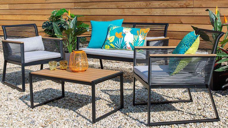 Dunelm garden furniture set – Elements 4 Seater Black Rope Conversation Set in garden