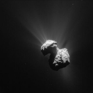Comet 67P/Churyumov-Gerasimenko, photographed by the European Space Agency's Rosetta spacecraft.