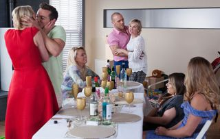 Maxine Miniver's dinner party descends into chaos when Darcy Wilde proposes to Jesse Donovan in Hollyoaks.