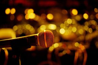 Starstruck: A microphone on a stage