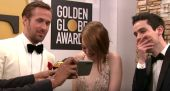 Watch Emma Stone React To Andrew Garfield And Ryan Reynolds' Golden Globes Kiss